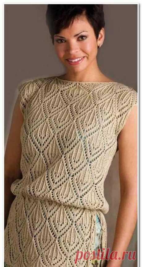 Ажурная туника спицами. Схема узора. / knittingideas.ru