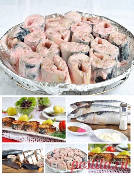 ¡Sabroso rybka en el horno! La caballa cocido en la marinada especial