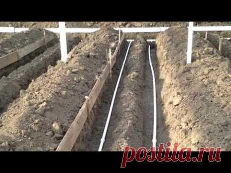 Подогрев почвы в теплице 360м2 - YouTube