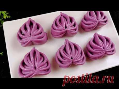 紫薯爱心花卷的做法,色泽亮丽,做法简单,花样面食
