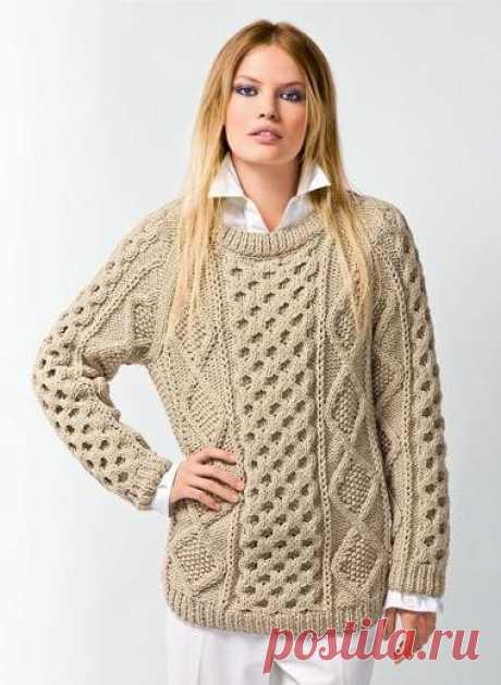 Узорчатый свитер с рукавами реглан. Схема вязания свитера спицами регланом |