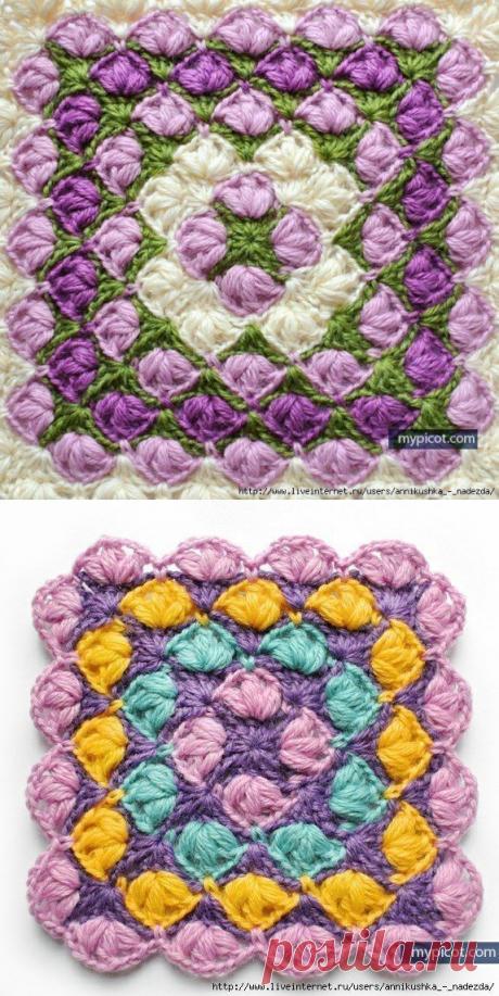 Новый цветной квадрат для вязания крючком