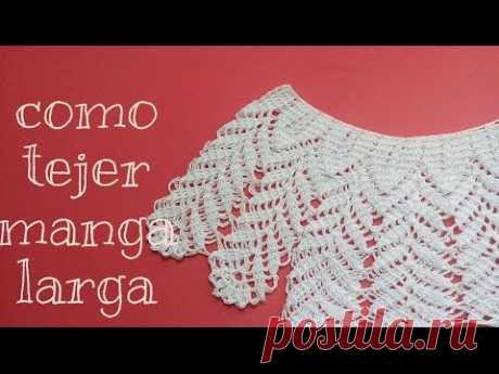 Como tejer manga larga ( blusa de hojas)
