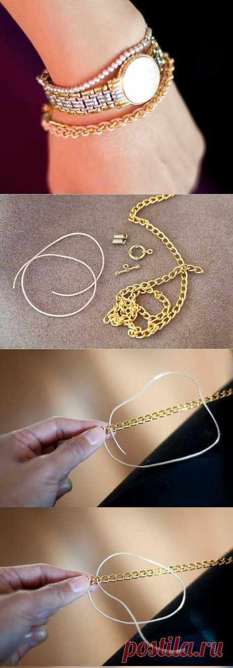 Браслет из цепочки и шнурка (DIY) / Украшения и бижутерия / Модный сайт о стильной переделке одежды и интерьера