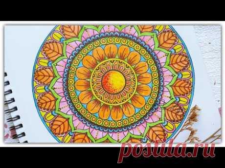 Как красиво раскрасить мандалу? Цветные карандаши+акрил