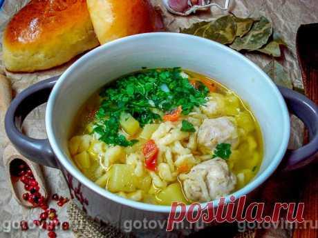 Суп с фрикадельками и жидкой лапшой. Рецепт с фото Рецепт сытного, ароматного супа с фрикадельками, заправленного домашней лапшой, причем готовить ее - одно удовольствие. Тесто для лапши не надо вымешивать и раскатывать, его достаточно просто отсадить из корнетика прямо в кипящий бульон. Приготовление супа с жидкой лапшой займет не более 35 минут.