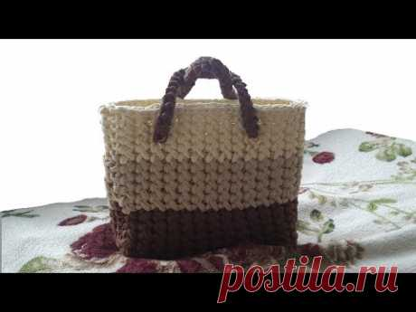 Knitting by a hook. Bag. Knitted yarn