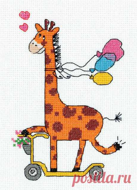 Klart Giraffe on a Scooter - Kit de punto de cruz - 123Stitch