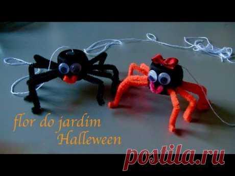Aranha de tampa de garrafa pet-Halleween - how to make a spider
