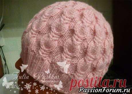Розовая шапочка от Юлии Пушкарь Вязание спицами аксессуаров Ог 54 (56) см