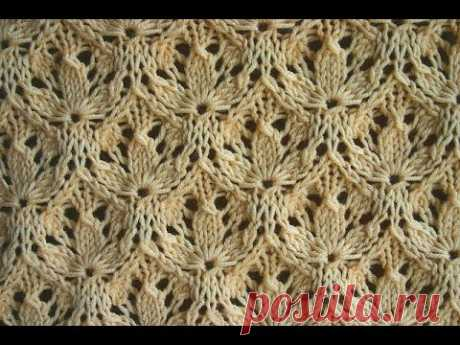 VIDEO: Knitting by spokes. A pattern - the Shamrock (shamrock pattern) - YouTube