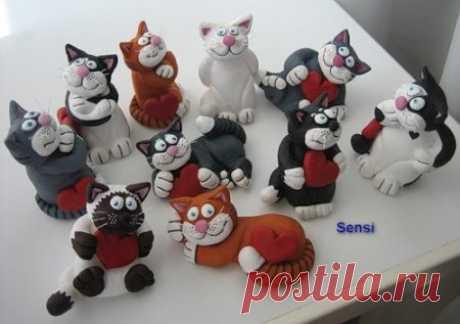 Кошки и коты из соленого теста: мастер класс по лепке