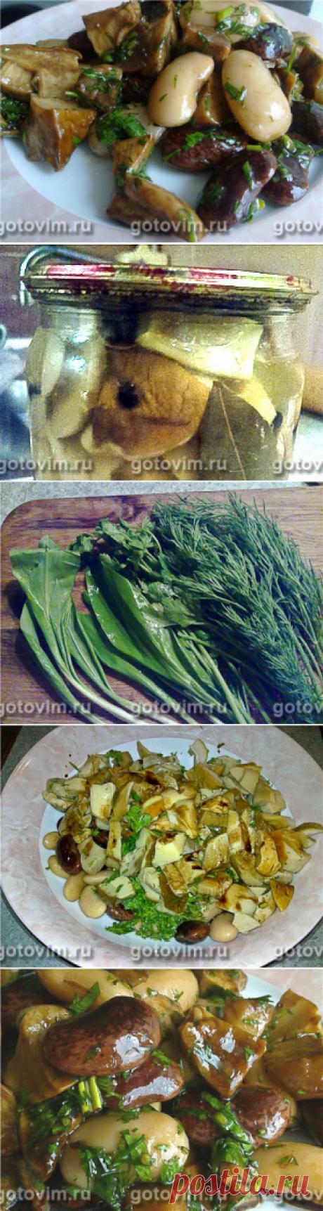 Салат из фасоли и белых грибов. Фото-рецепт фасоль; белые грибы (консервированные); петрушка, укроп, черемша; растительное масло; бальзамический уксус.