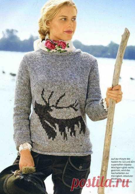 Необычный свитер с оленем (Diy).