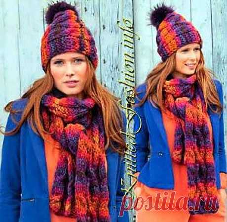 Hat with a fur pompon and a scarf - KnittedFashion.info