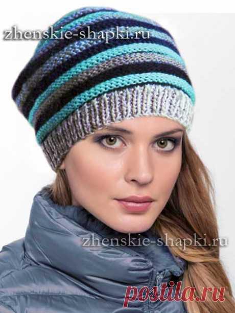 Молодежная шапка спицами описание вязания и фото 2016