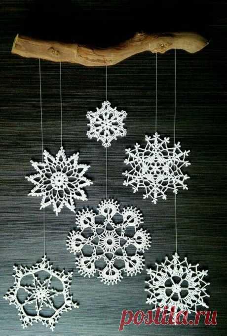 Вязание крючком для начинающих: снежинки со схемами   Только handmade   Яндекс Дзен