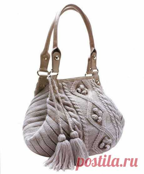 Красивая вязaная сумка спицами