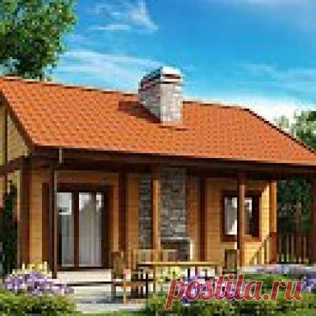 Проект маленького одноэтажного дома, оснащенного всем необходимым для круглогодичного проживания -  Z42 Одноэтажный дом Z42 — один из самых маленьких среди всех наших проектов. Несмотря на это он оснащен всем необходимым для круглогодичного проживания, его интерьер уютный и практичный. Внешние параметры дома также достаточно привлекательны: отделка из дерева и камня, обширна терраса с камином, оформление крыльца придают ему уютный домашний характер.