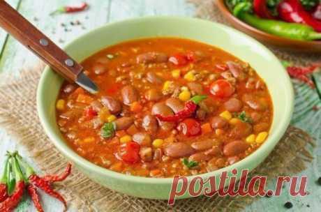 """Мексиканский суп Чили """"Пикантная лагуна"""" В меру острый, но весьма оригинальный!"""