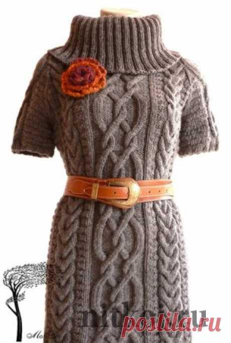 Тёплая и красивая туника спицами » Ниткой - вязаные вещи для вашего дома, вязание крючком, вязание спицами, схемы вязания