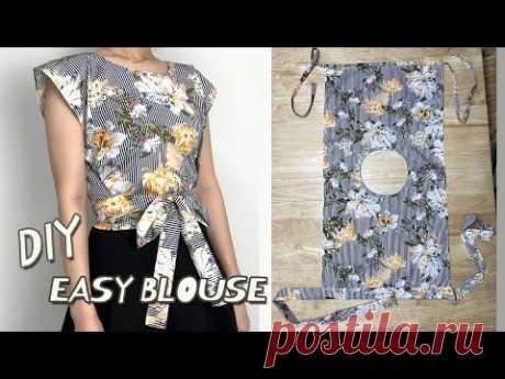 DIY Simple Wrap Top / Rectangle shirt / Summer Crop top Tutorial / For Beginner