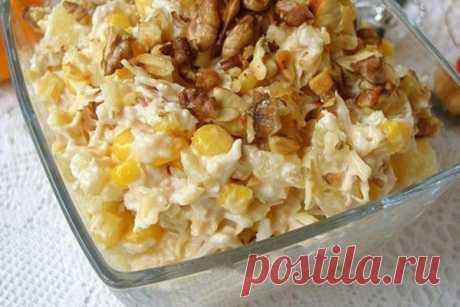 Салат с курицей, сыром и ананасом — Женская страничка