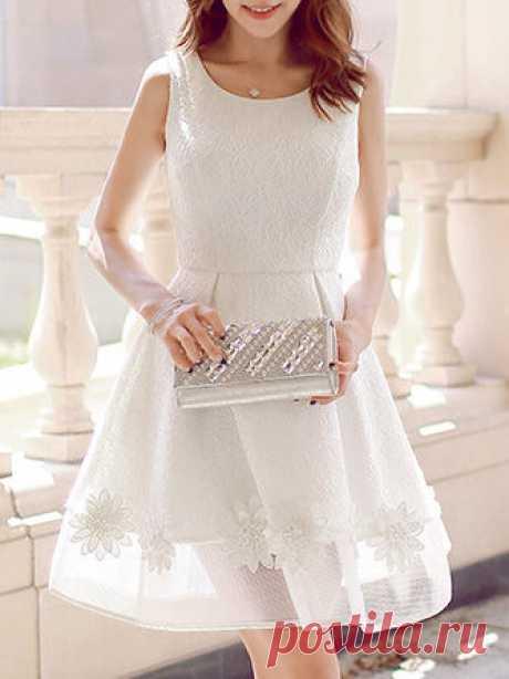 Appliqued Sleeveless Mini Dress
