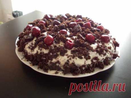 Шоколадный торт без молока и яиц, выпекается 30 минут.