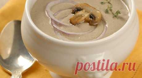 Крем-суп из шампиньонов  Идеальный крем-суп из шампиньонов должен получиться однородным и достаточно густым, именно так его готовят во Франции. Перед тем, как измельчать его в пюре, отложите несколько сваренных грибов - ими хорошо украшать разлитый по тарелка суп.  Время готовки: 1 ч. Количество порций: 4. Сложность приготовления: легкая.  Ингредиенты: Сливки жирностью 35% – 150 мл. Шампиньоны – 500 г. Щепотка молотого мускатного ореха. Чеснок – 1 зубчик. Куриный бульон – ...