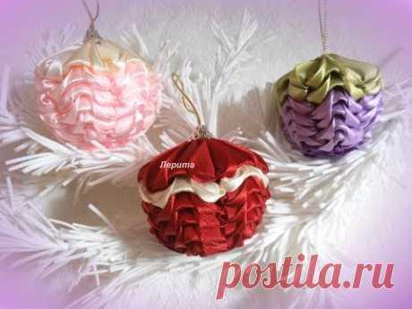 Новогодние игрушки на ёлку своими руками, ёлочные игрушки шарики канзаши, Лерита.