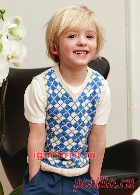 Жаккардовый жилет для мальчика 2-8 лет. Вязание спицами для мальчиков со схемами и описанием