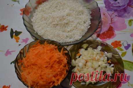 Рыба с овощами на рисовой перинке - вкусный ужин на всю семью