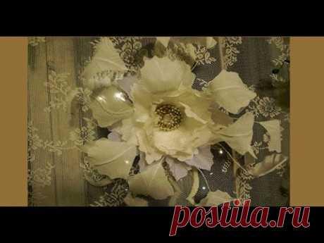 Цветок - шляпка свадебная из ткани.