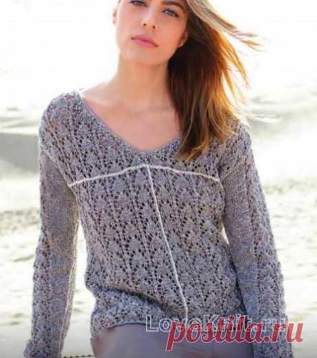 Ажурный пуловер с контрастной полосой схема спицами