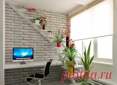 Оригинальная полка для комнатных растений-лестница.