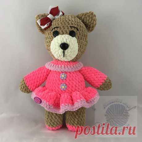 Медведица детская игрушка в розовом платье, вязаная, 30 смПлюшевый мир Мастерская игрушек Анны Ганоцкой