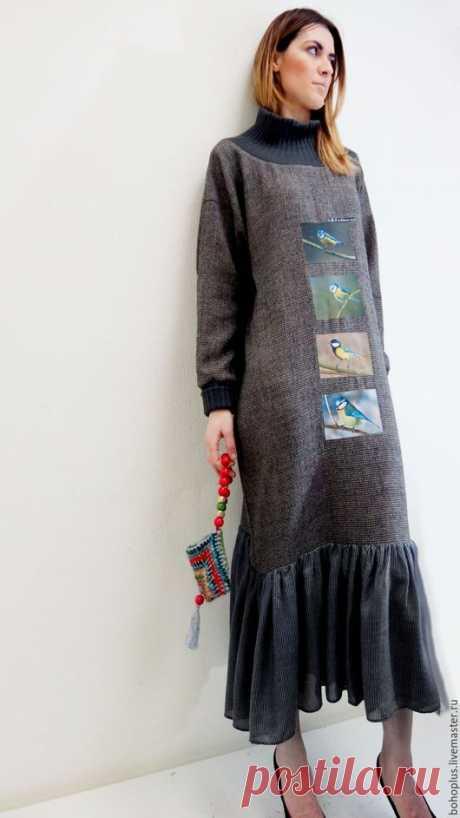 """Платья ручной работы. Ярмарка Мастеров - ручная работа. Купить Платье свободного кроя """"Синица 30"""". Handmade. Темно-серый"""