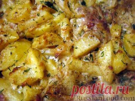 Рецепт: Скумбрия с картофелем, запеченные под майонезом на RussianFood.com
