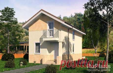 Rg5139 - Одноэтажный дом с мансардой, террасой и балконами