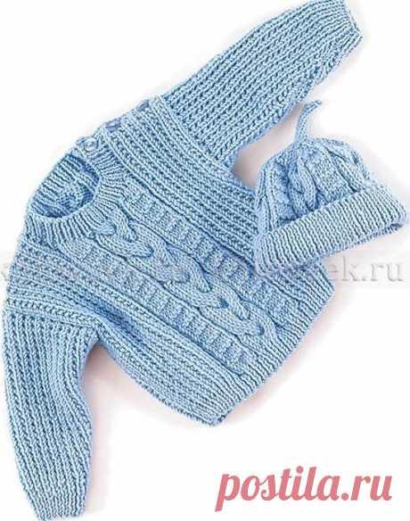 Десткий комплект, который состоит из свитера и шапки, связанный на спицах. Описание дано для размеров от 3 месяцев до 12