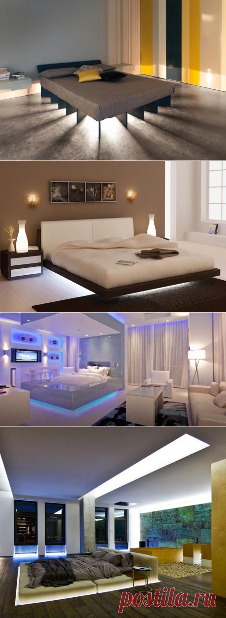 Скрытая подсветка под кроватью: 14 примеров
