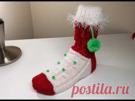 Носки новогодние вязанные спицами  Что подарить на Рождество.