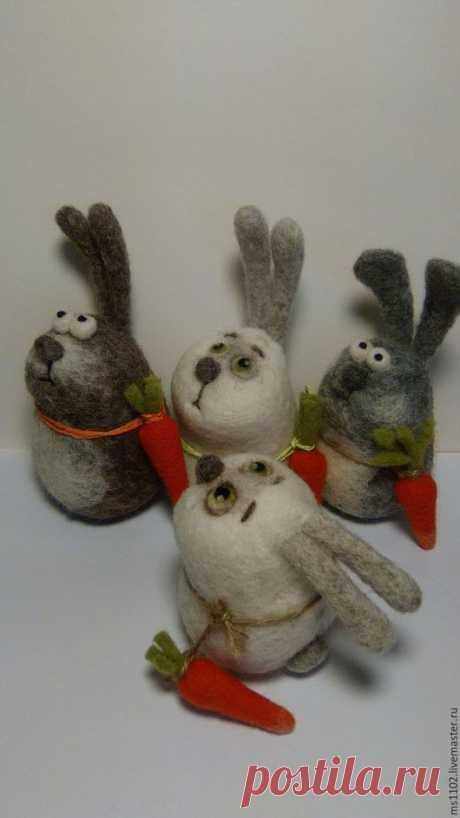 Купить Всем привет! - комбинированный, заяц, валяный заяц, авторская игрушка, валяная игрушка