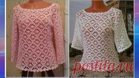 Ажурная блузка крючком.Часть 4.МК для начинающих.Openwork blouse crochet.Part 4.MK for beginners