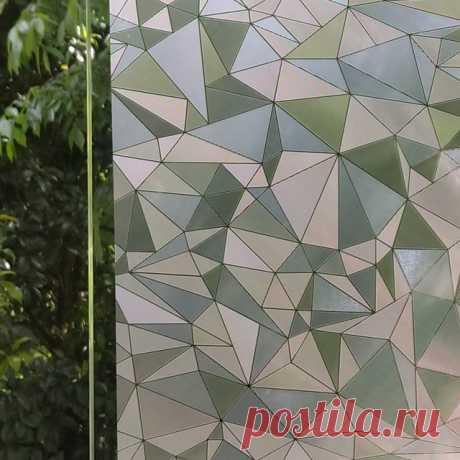 WXSHSH ПВХ пленка на окно пленка, неклей самоклеющиеся 3D геометрия дома декоративные наклейки на термоизолирующее стекло 45x100 см купить на AliExpress