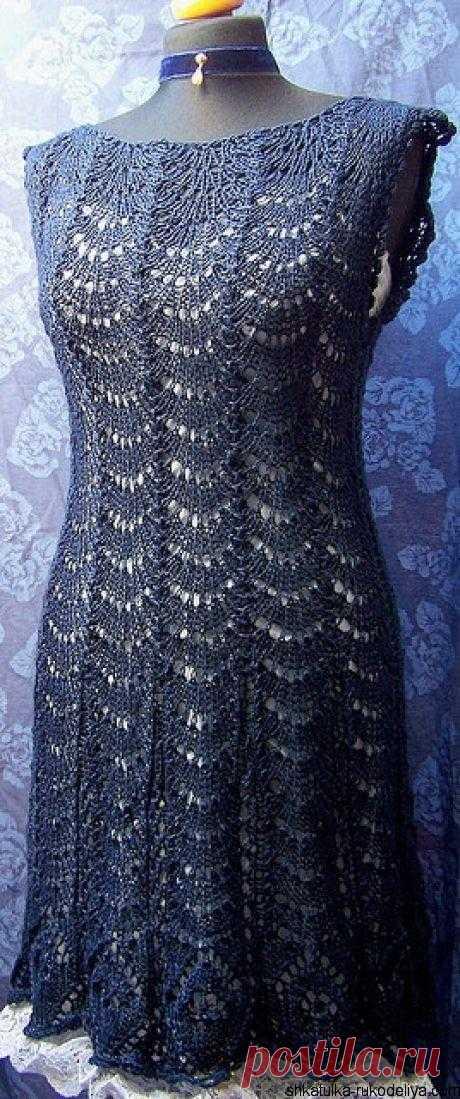 """Платье """"Павлиний хвост"""" Ажурное платье спицами красивым узором павлиний хвост. Подборка схем"""