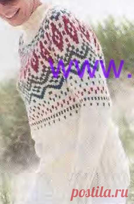 Пуловер с круглой жаккардовой кокеткой. Описание вязания