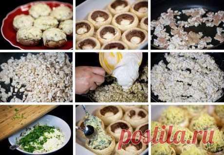 Нежная сырная корочка и ароматные грибы – эта закуска порадует как ваших домашних, так и и гостей. ШАМПИНЬОНЫ С КУРИЦЕЙ И СЫРОМ.
