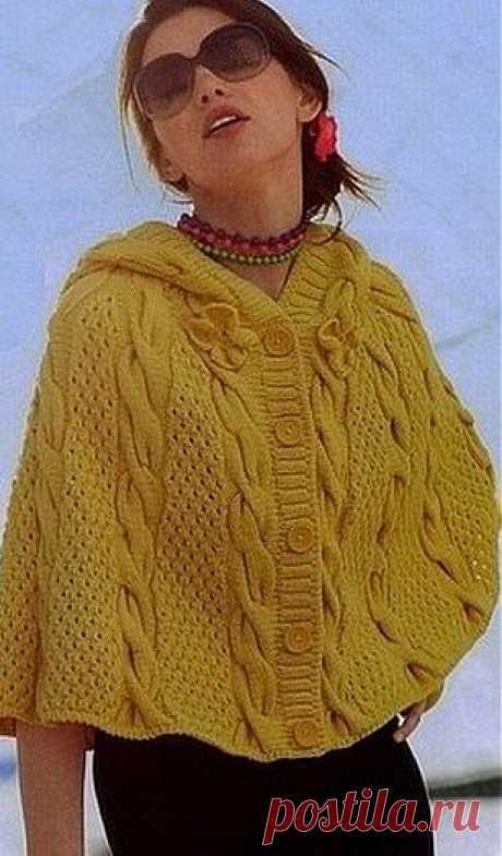 Накидка с капюшоном спицами / Вязание для женщин спицами. Схемы / PassionForum - мастер-классы по рукоделию